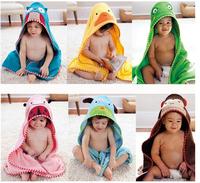 Free shipping 2015 new cartoon baby bath towel baby hooded bathrobe lovely zoo