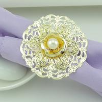 100pcs  Floor empty Pearl rose wedding napkin ring CJK99