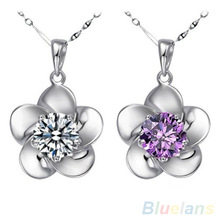 Women's 925 Sterling Silver Wintersweet Rhinestone Chain Pendant Jewelry Necklace