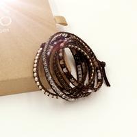 VIKIKO wrap bracelets Brown leather cord bracelet natural shell pearl crystal free shipping VK0009