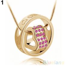 Women s Fashion Crystal Chain Rhinestone Gift Love Heart Pendant Necklace 2KNZ