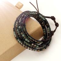 VIKIKO wrap bracelets Brown leather cord bracelet mixed natural stone free shipping VK0006