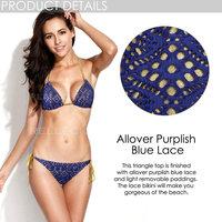 RELLECIGA 2015 Marianne Allover Purplish Blue Lace & Golden Foil Fabric Triangle Top Bikini Set with Light Removable Paddings