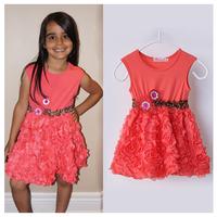 Retail Summer Flower Girl Dresses Cotton Red Rose Cusal Dress Girl Leopard  Belt Baby  Girl Clothing Kid Wear Free Shipping