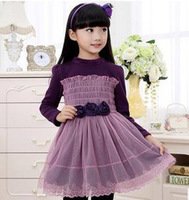 2015  girls sweet princess dress birthday party dress cotton velvet long-sleeved dress Korean children's clothing free shipping