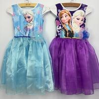 BD168 Free shipping 2015 hot sale girls clothes 1 pcs baby dress princess elsa anna children princess dress wholesale and retail