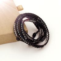 VIKIKO wrap bracelets Brown leather cord bracelet natural Black agate black gallstone crystal free shipping VK0024