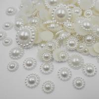 1000Pcs White mix size Craft ABS Resin Flatback Half Round Flower Pearls beads,Flatback Cabochon Beads Jewelry DIY Decoration