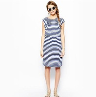 Summer Wind navy blue and white striped dress Slim dress
