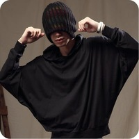 2014 male personality solid color basic shirt with a hood casual shirt batwing long-sleeve T-shirt