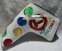 Wholesale 2015 New Golf Cove Top Quality T Logo Golf Putter Cover White Golf Clubs Cover Free Shipping