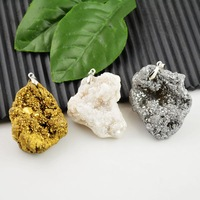 Finding - 6pcs Gold Plated Edge, Mixed Crystal Agate Druzy Drusy Quartz Geode Stone Charms Pendant