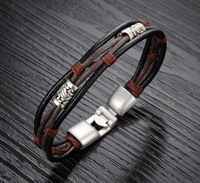 new design cheap Genuine leather wrap bracelets for men fashion jewelry for men vintage bracelet & bangles jewelry for male