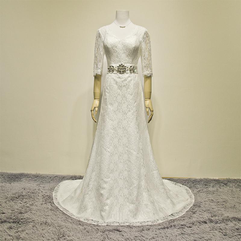 2014 new bride wedding dress lace a shoulder V receive half long sleeved Korean Princess retro Qi Long Sleeve(China (Mainland))