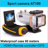 New Original AT100 Action Camera Diving 60M Waterproof Camera Remote Control 1080P 3MP Full HD Underwater Sport Cameras GPS HDMI