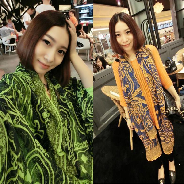 Beautiful scarf retro Persian lines hit color silk floss shawl(China (Mainland))