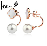 Italina Rigant Wholesale Clover With Pearl Stud Earrings 2 Ways To Wear Brincos For Women Dropship