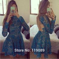 2015 New Arrival Mini Women Fashion Lace Backless Floral Dresses Crochet Club Sexy Bodycon Vestidos Party Cotton Renda HBQ111