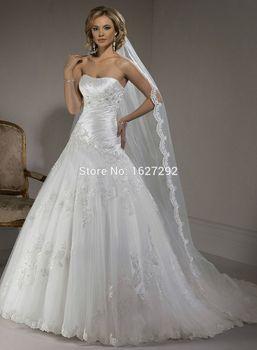Бесплатная свадебная фата 2015 романтический элегантный белый / слоновая кость Aplique складки бисероплетение кристалл атласная тюль свадебное платье свадебное платье