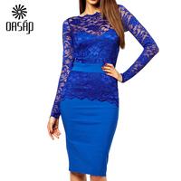 New Arrival  Longsleeve Graceful Blue Lace Bodycon Fit Women Midi Dress Dresses Vestido vestido de renda Curto Free Shipping