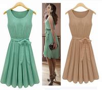 2014 New Fashion Korea Women's Elegance Bow Pleated Vest Chiffon Dress Round Collar Sleeveless Dress Free Shipping