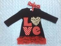HOT!!! Best Valentine seller baby girls leopard heart dress valentines dress with matching headband