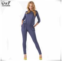 Women 2015 New Fashion Graphite Round Neck Long Sleeve Pockets Cotton High Street Spain Desigual One Piece Jumpsuit