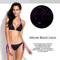 RELLECIGA 2015 Marianne Collection Allover Black Lace & Purple Fabric Triangle Top Bikini Set with Brazilian Cut Scrunch Butt