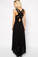 Black Multi Cross Back High-Low Maxi Dress Long Evening Dress Ladies Celebrity Party Casual Dress vestido longo