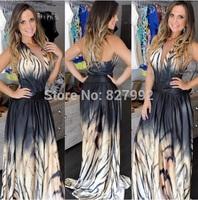 Women Fashion 2015 New Design Backless Dress Striped Print Sexy V-neck Sleeveless Long Maxi Dress
