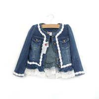 wholesale--5pcs/lot 2015 new girls high quality denim lace jacket Free shipping