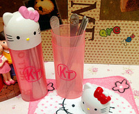 Freeshipping travel Home Kithen cutlery set Hello Kitty stainless steel fork spoon chopsticks Dinnerware set KT55