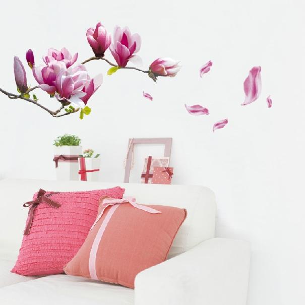 Enjoy-Purple Magnolia Flower adult living Room Mural Art Wall PVC Paper Sticker Removable(China (Mainland))