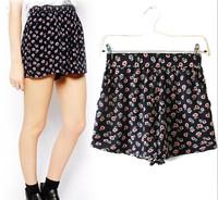 Women's Brand Little Floral Print Shorts Women Bandage Shorts High Waist Causal Short Cintura Alta bermuda feminina
