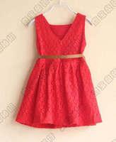 wholesale--5pcs/lot 2015 new girls high quality lace sleeveless dress Free shipping