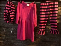 2015 new baby girls black/hot dress and pant outfits boutique outfits stripe dress pant set with matching stripe scarf