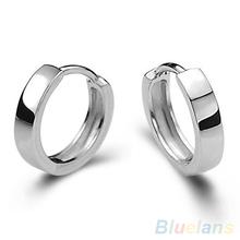 Unisex Men Women Cool 925 Sterling Silver Smooth Round Hoop Jewelry Earrings