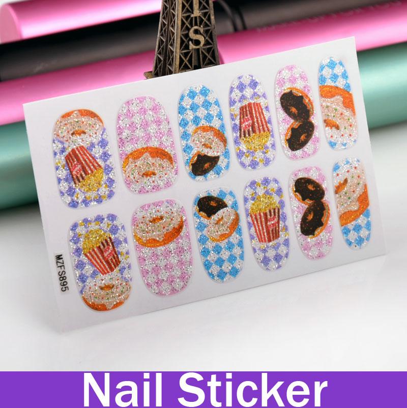 New Fashion Donuts & Popcorn Glitter Patterned Nail 3D Sticker Nail Art Japanese Nail Art(China (Mainland))
