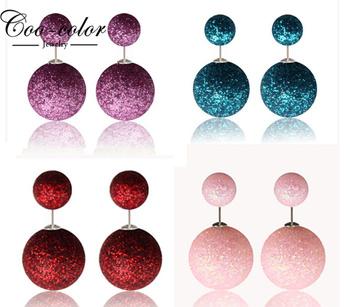 День святого валентина подарки мода серьги стержня мяч дважды сторона блестящей жемчужиной серьги серьги для женщин