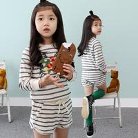Hot Sale Floral Girls Clothing Sets Stripe T-shirt+Shorts Kids Clothes Cotton Family Autumn Children's Suit Roupas Infantil 481