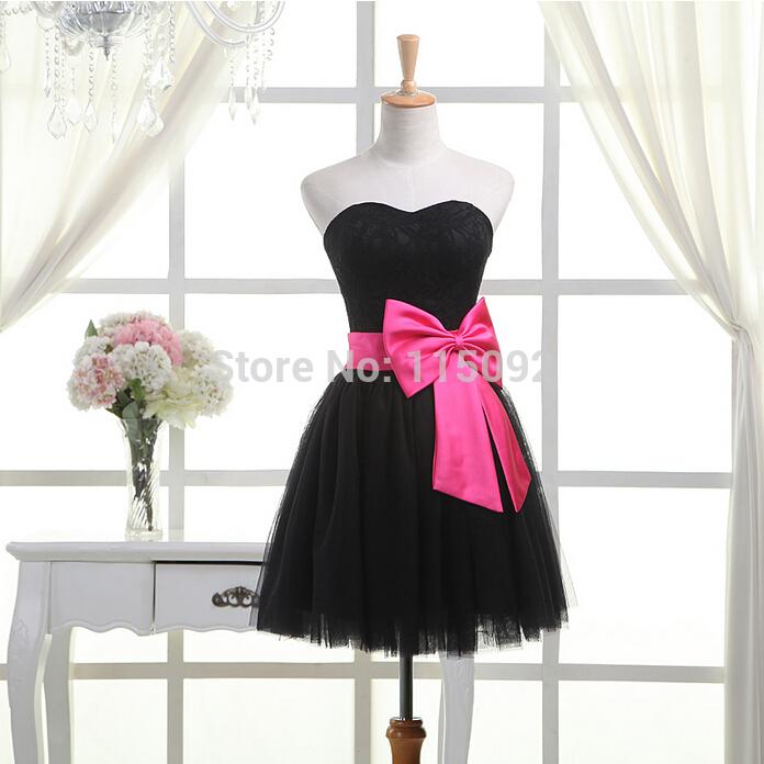 Curto preto fuchsia bow querida strapless sem mangas dama de honra tule vestido formal para os adolescentes raparigas vestidos W2045(China (Mainland))