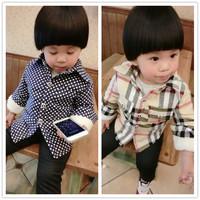 Kids Boys plus velvet shirt , children warm thick plaid shirt , baby coat Dongkuan