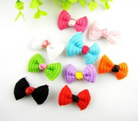 Free CN Shipping Whoelsale 50pcs ASSORTED Dog Cat Grooming Cute PET Baby Girls Grosgrain Ribbon Hair Bows Clips Accessores