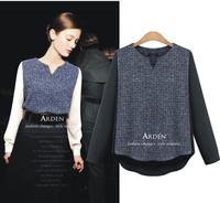 New 2015 Spring color block woman long sleeve chiffon patchwork blouse tops t shirts femininas blusa S-XL
