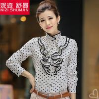 Hot new fashion lace flounced chiffon shirt collar long-sleeved shirt female palace retro dot blouse explosion models
