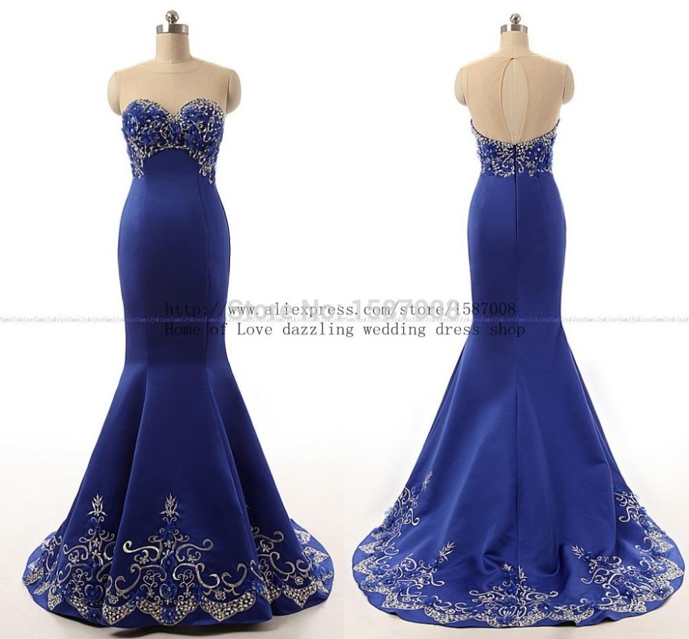 Charme elegante frisado apliques de cristal do querido vestido de baile vestido de festa azul royal sereia tribunal trian real fotos 2015(China (Mainland))