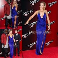Vestido de Noite 2015 Sleeveless Royal Blue Charmuse Satin Out Slit Red Carpet Celebrity Dress