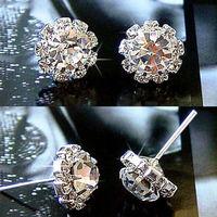 Wholesale Womens Earrings Lady Clear CZ Crystal Rhinestone Silver Plated Ear Stud Earrings Fashion Jewelry Gift High Quality