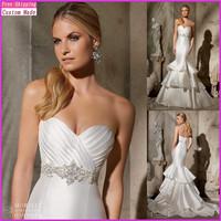 Custom Made Mermaid Sexy Strapless Sweetheart Crystal Beading White Satin Wedding Dresses 2015 vestido de noiva KY-040
