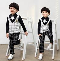 kids Clothing Boys Gentleman Sets Plaid Long Sleeve Suits (T-shits+Pants+Tie) Children Clothes Set 2015 Spring Autumn AB653